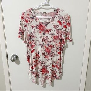Aritzia Wilfred Floral Capucine Rayon T-Shirt, Cream/Pink, size Small